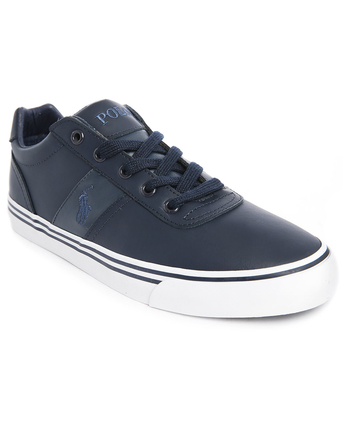 polo ralph lauren hanford navy leather sneakers in blue for men lyst. Black Bedroom Furniture Sets. Home Design Ideas