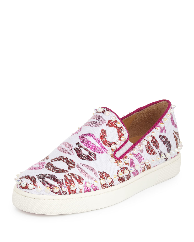 christian louboutin pik boat woman lip print sneaker in pink lyst