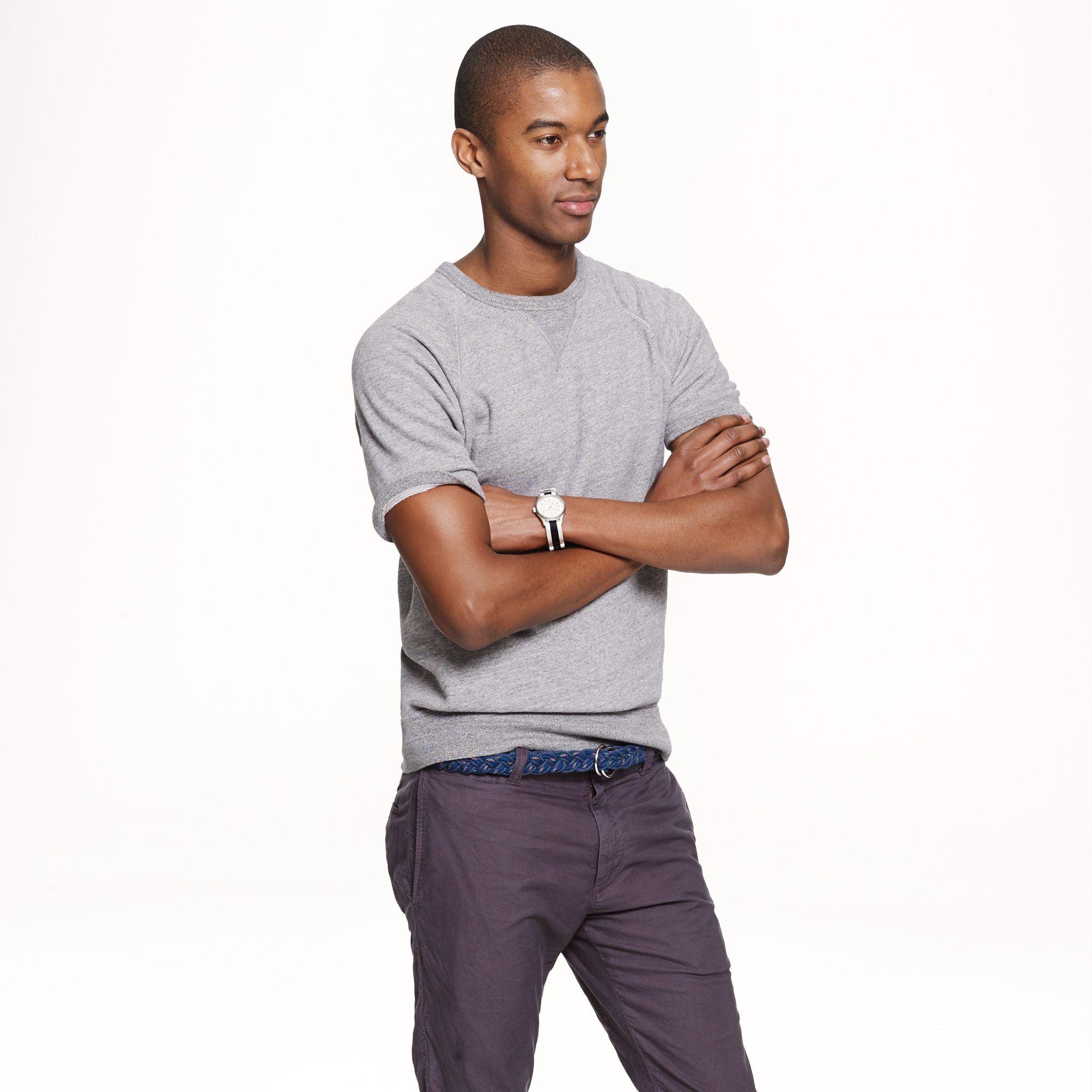 J.crew Short Sleeve Sweatshirt in Gray for Men | Lyst