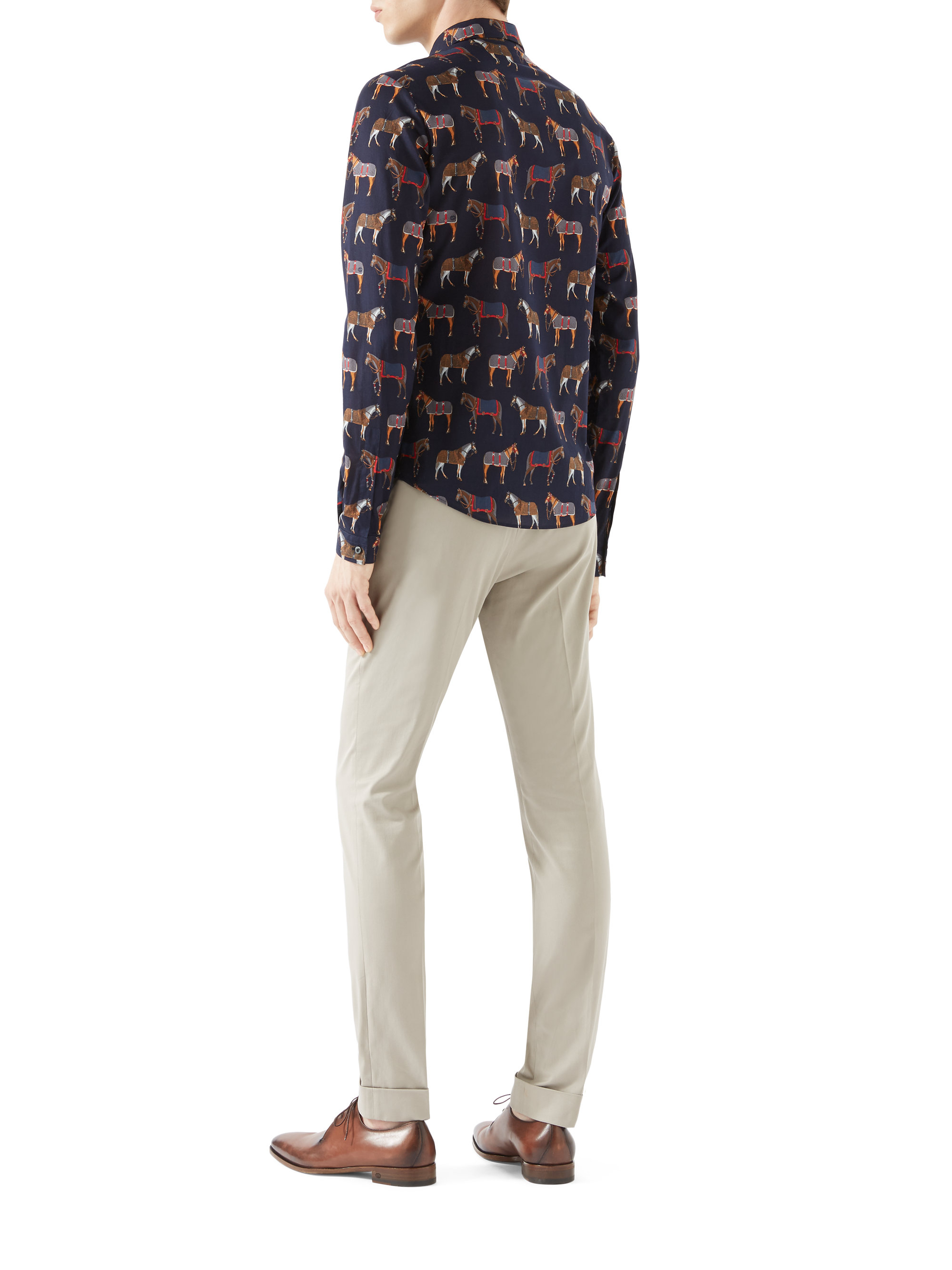Lyst Gucci Stretch Cotton Riding Pants In Natural For Men