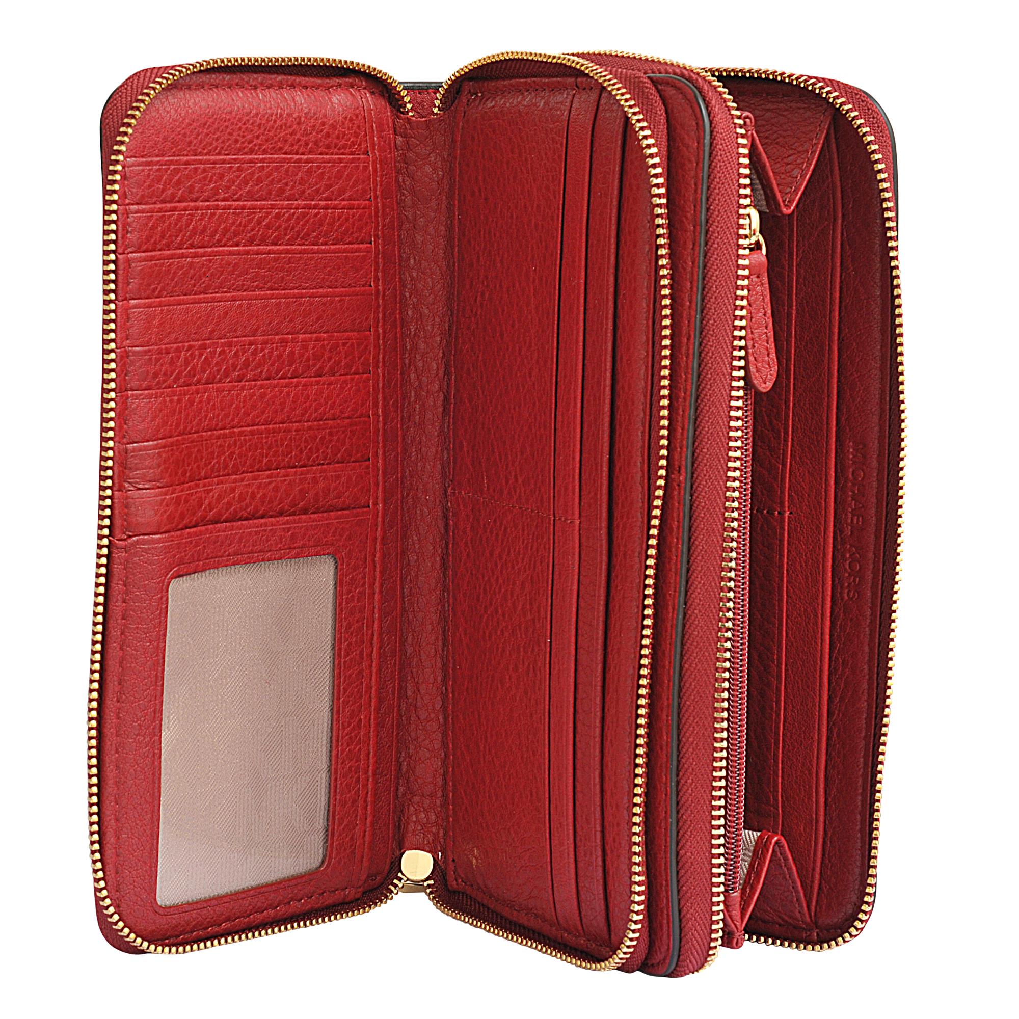 ca90c32b0be2 MICHAEL Michael Kors Adele Double Zip Wallet in Red - Lyst