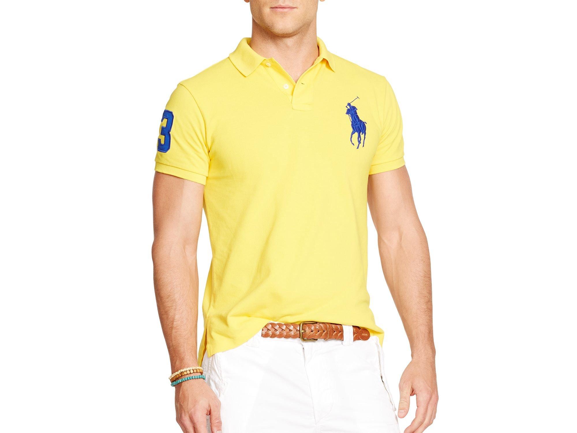 e9ab9a57d4645 Lyst - Ralph Lauren Polo Custom-fit Big Pony Mesh Polo Shirt - Slim ...
