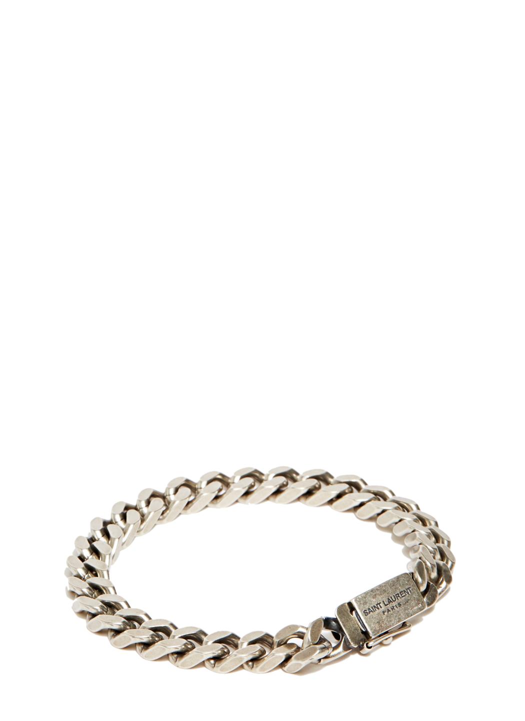 Saint Laurent Gourmette Silver Chain Bracelet In Metallic