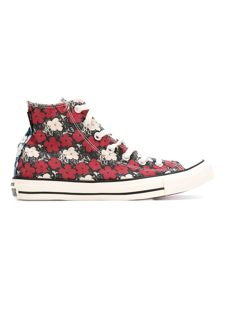 converse floral print hightop sneakers in red lyst