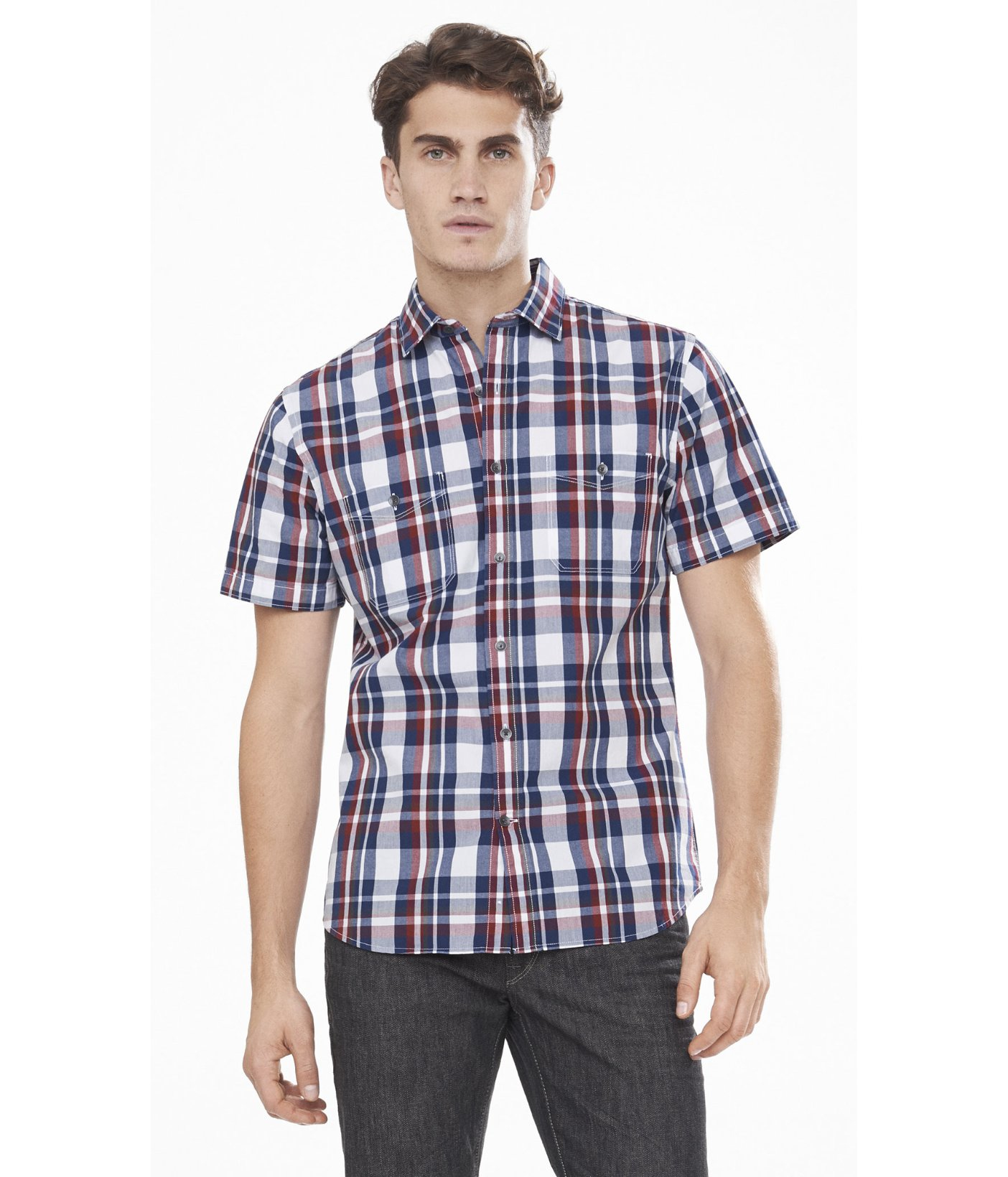 Express Short Sleeve Red White And Blue Plaid Shirt In