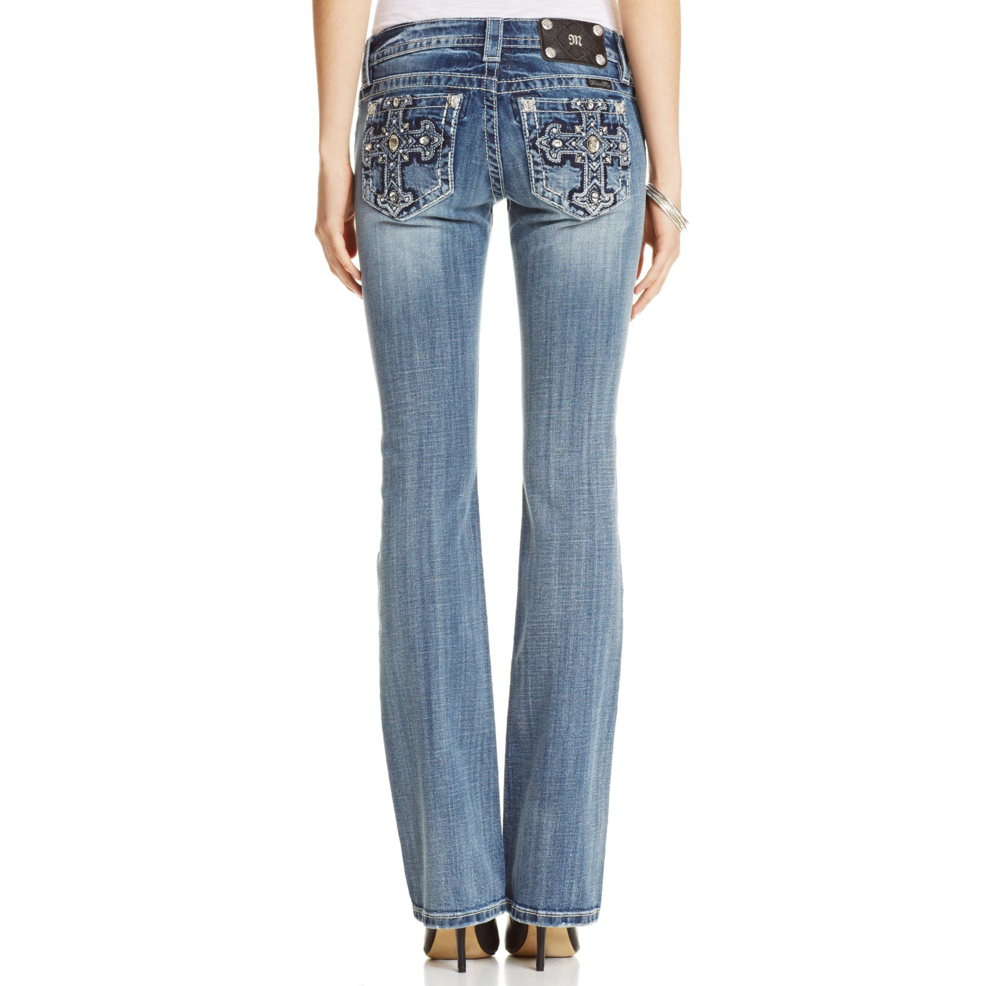 Miss Me Rhinestone Cross Bootcut Jeans in Blue (Medium Blue) | Lyst