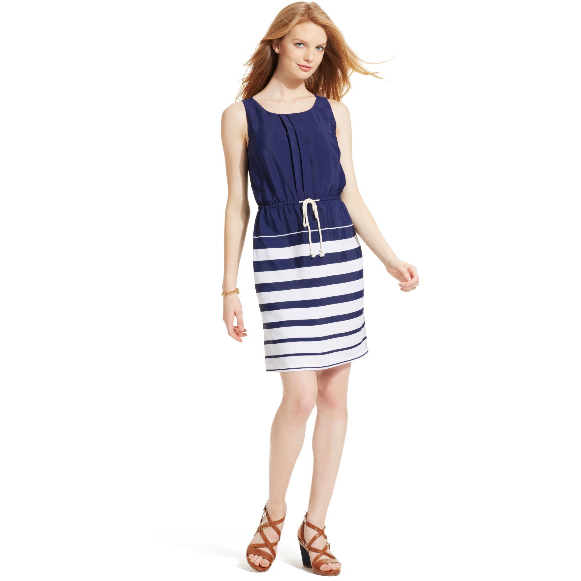 8c7b30928b541 Lyst - Tommy Hilfiger Sleeveless Striped Dress in Blue