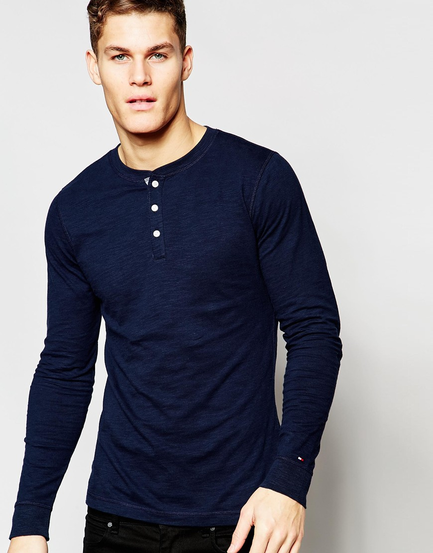 tommy hilfiger long sleeve t shirt with henley navy in. Black Bedroom Furniture Sets. Home Design Ideas