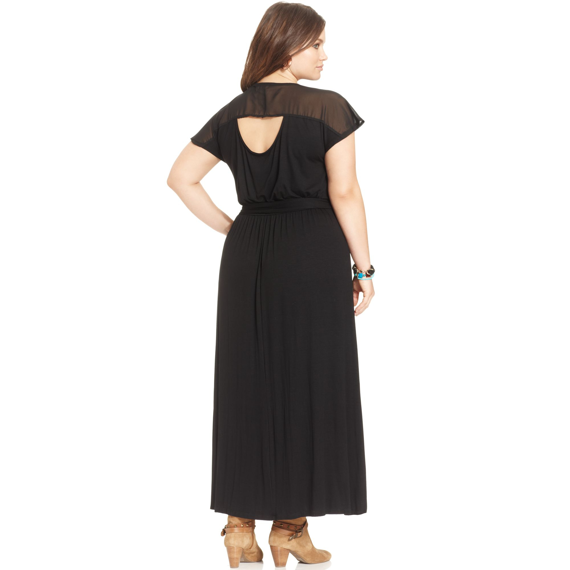 c2ee2f7ab3 American Rag Plus Size Short Sleeve Cut Out Back Maxi Dress in Black ...