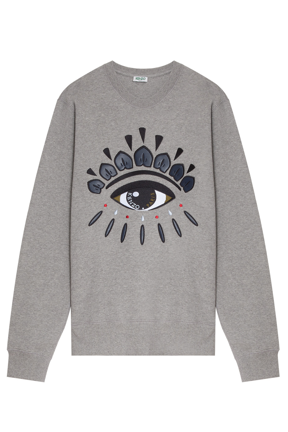 kenzo eye embroidered sweater in gray for men grey lyst. Black Bedroom Furniture Sets. Home Design Ideas