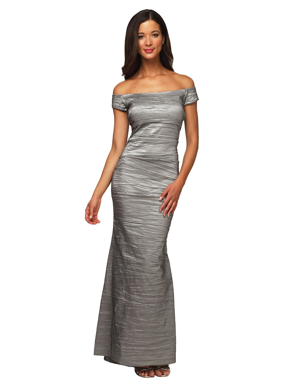 Lyst - Alex Evenings Long Off The Shoulder Stretch Taffeta Dress in Gray