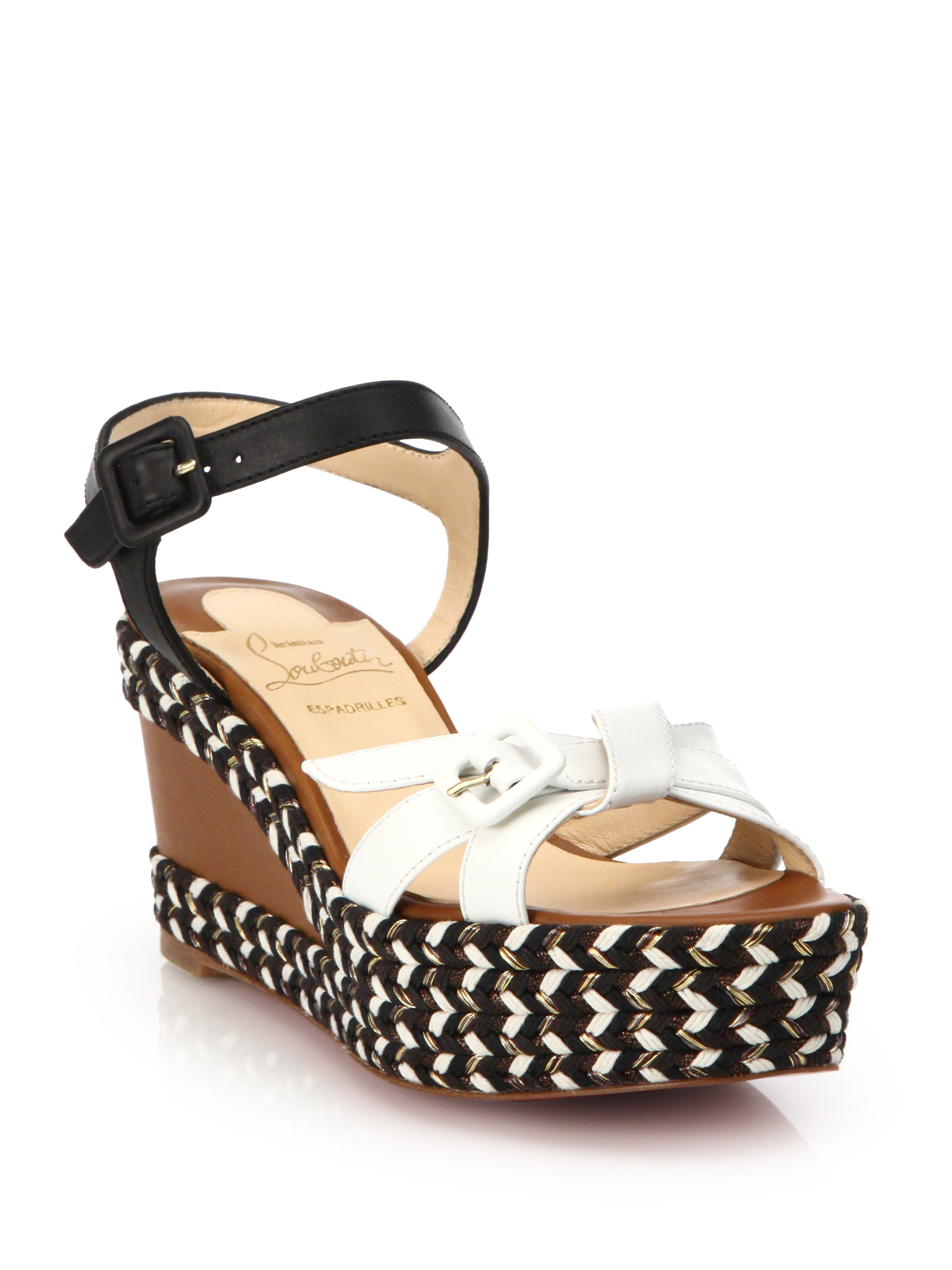 Christian Louboutin Lagoa Rope Trimmed Leather Wedge