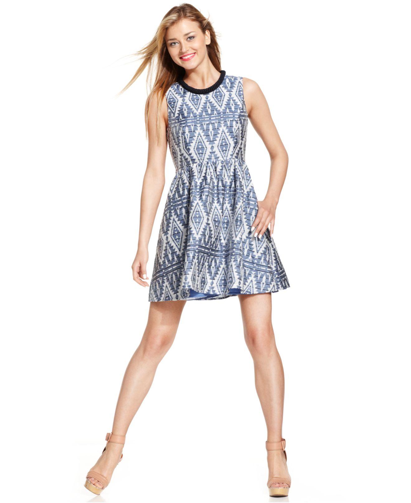 Jessica Simpson Tribal Print Jacquard Dress In Blue Lyst