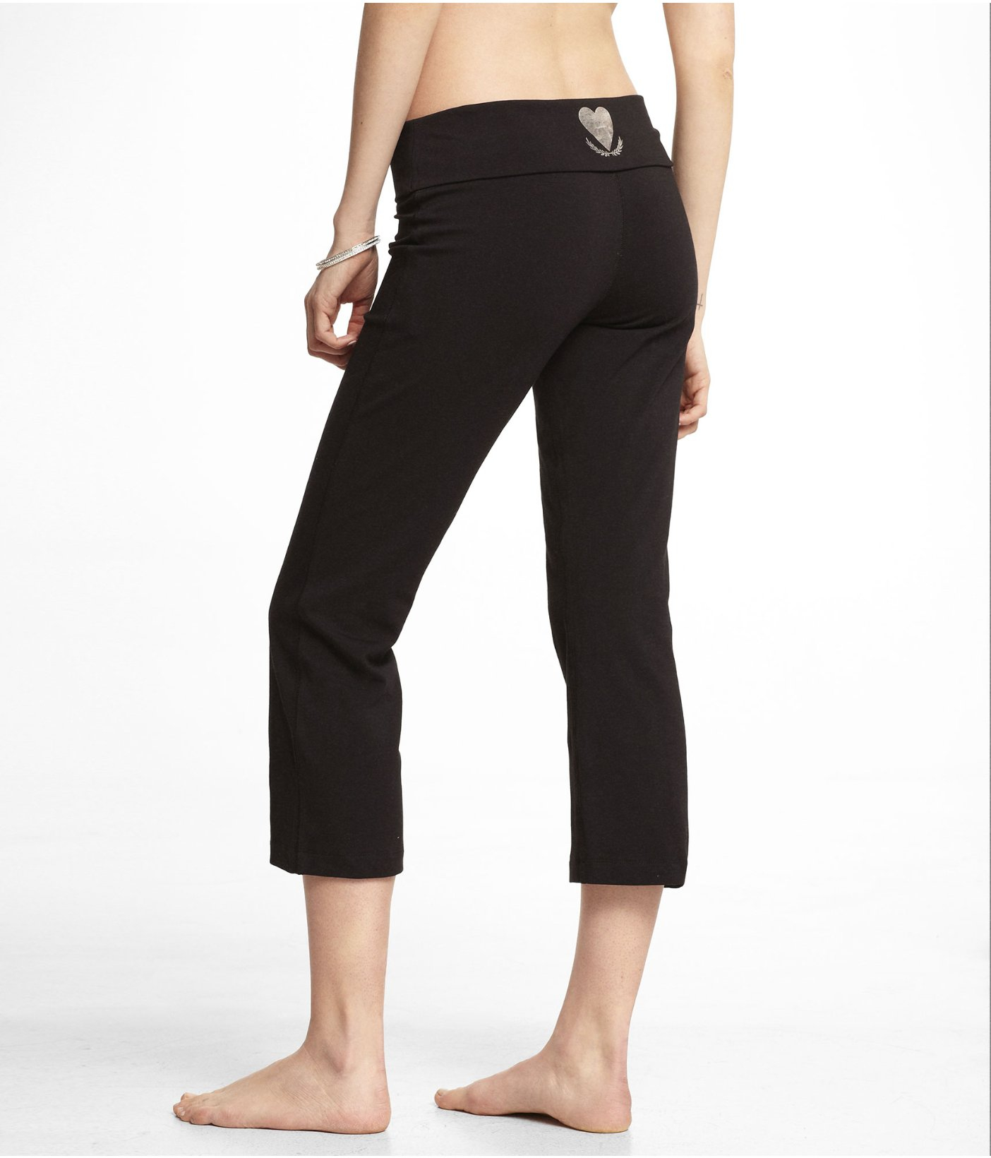 Express Love Yoga Foldover Cropped Pant In Black (PITCH