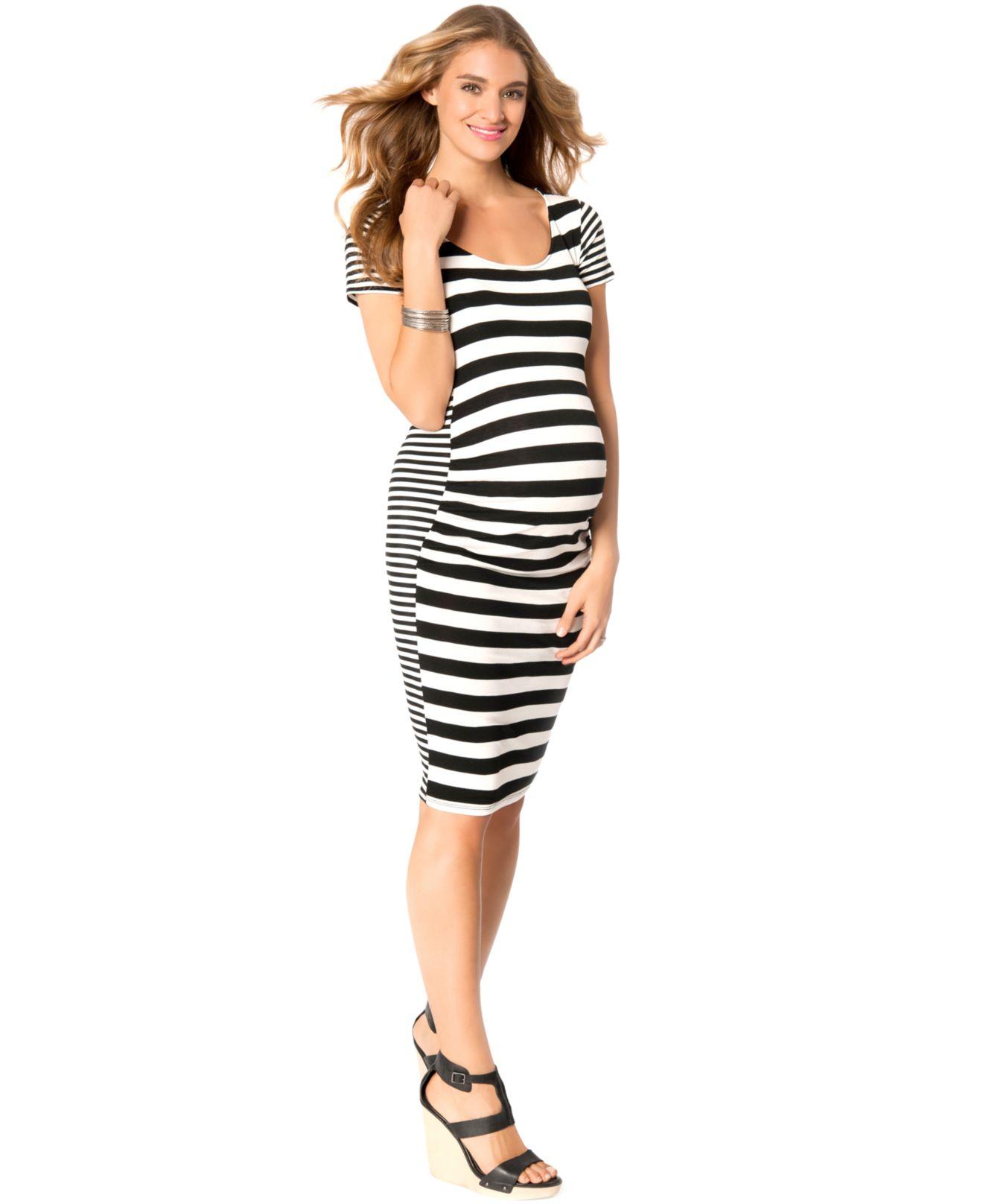 70bcfae5c773 Jessica Simpson Maternity Striped Bodycon Dress in Black - Lyst