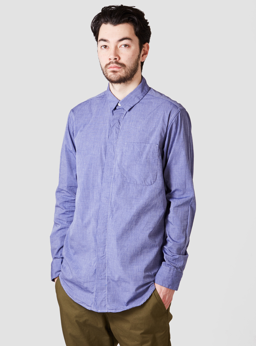 Engineered garments short collar shirt royal end on end in for Royal purple mens dress shirts