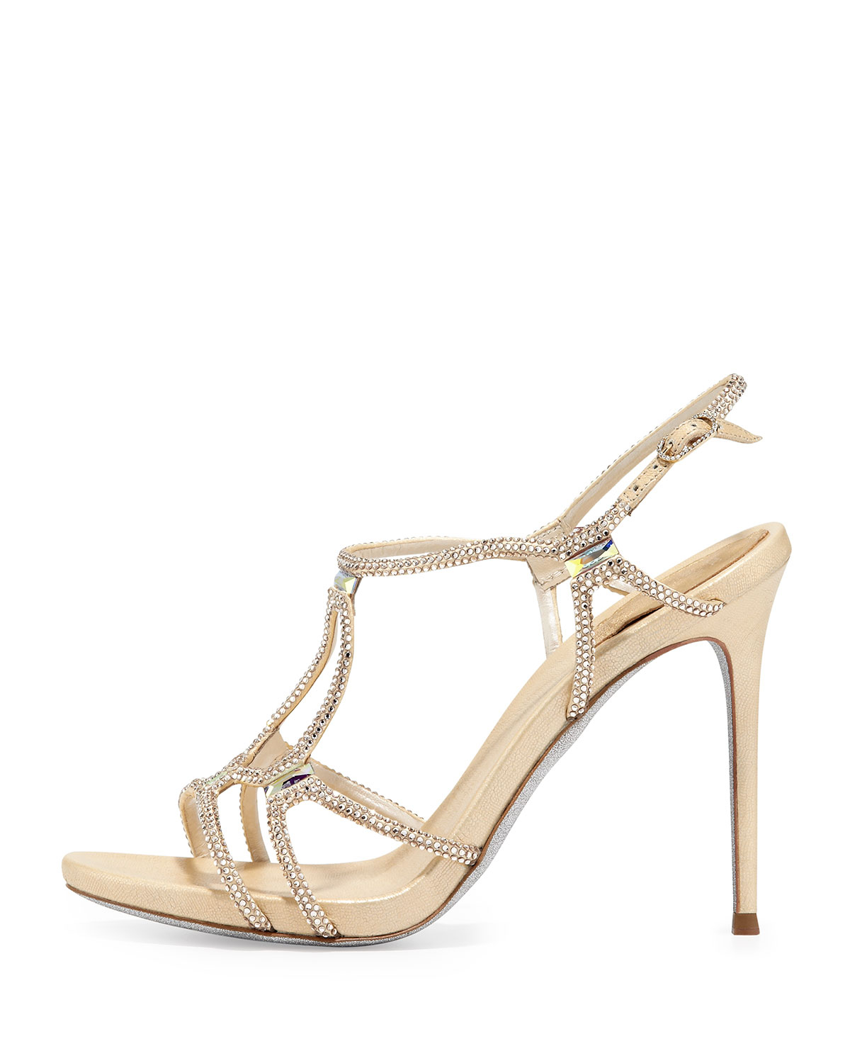 b79f4e850041e4 Lyst - Rene Caovilla Metallic Crystal Gladiator Sandal Gold in Metallic