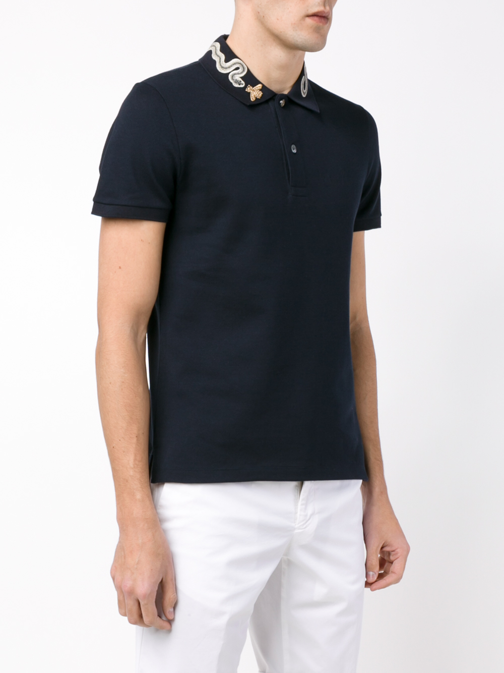 da05e0117 Gucci Snake And Bee Collar Polo Shirt in Blue for Men - Lyst