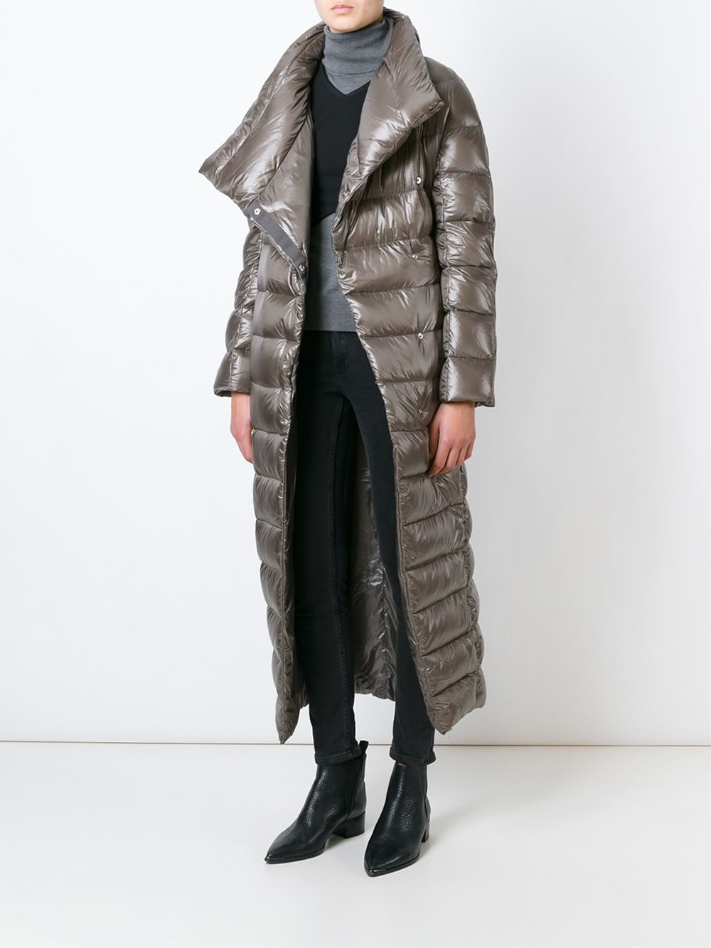 Herno Long Padded Coat in Gray | Lyst