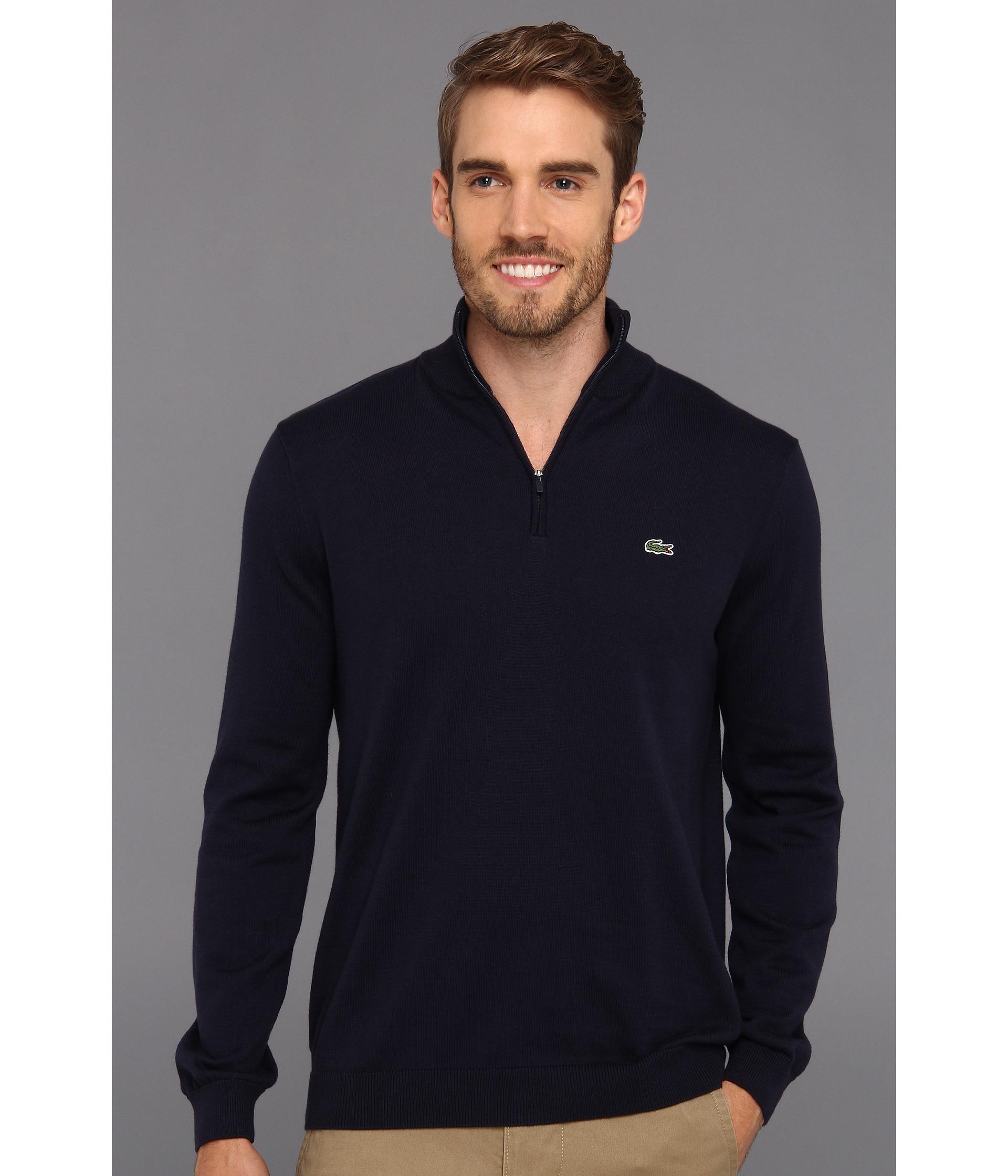 Lacoste Half Zip Cotton Jersey Sweater in Blue for Men | Lyst
