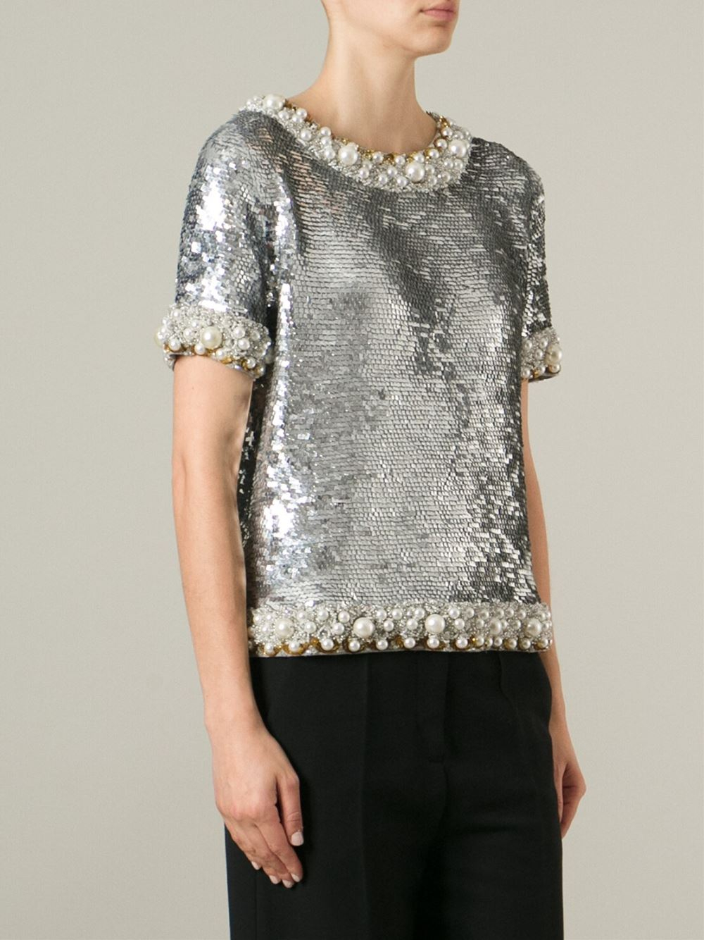 Lyst - Ashish Sequin Embellished Top in Metallic
