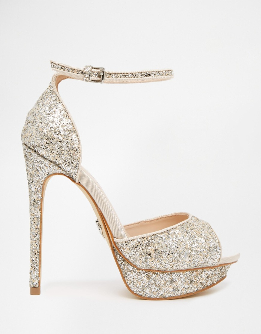 Silver Glitter Mid Heel Shoes