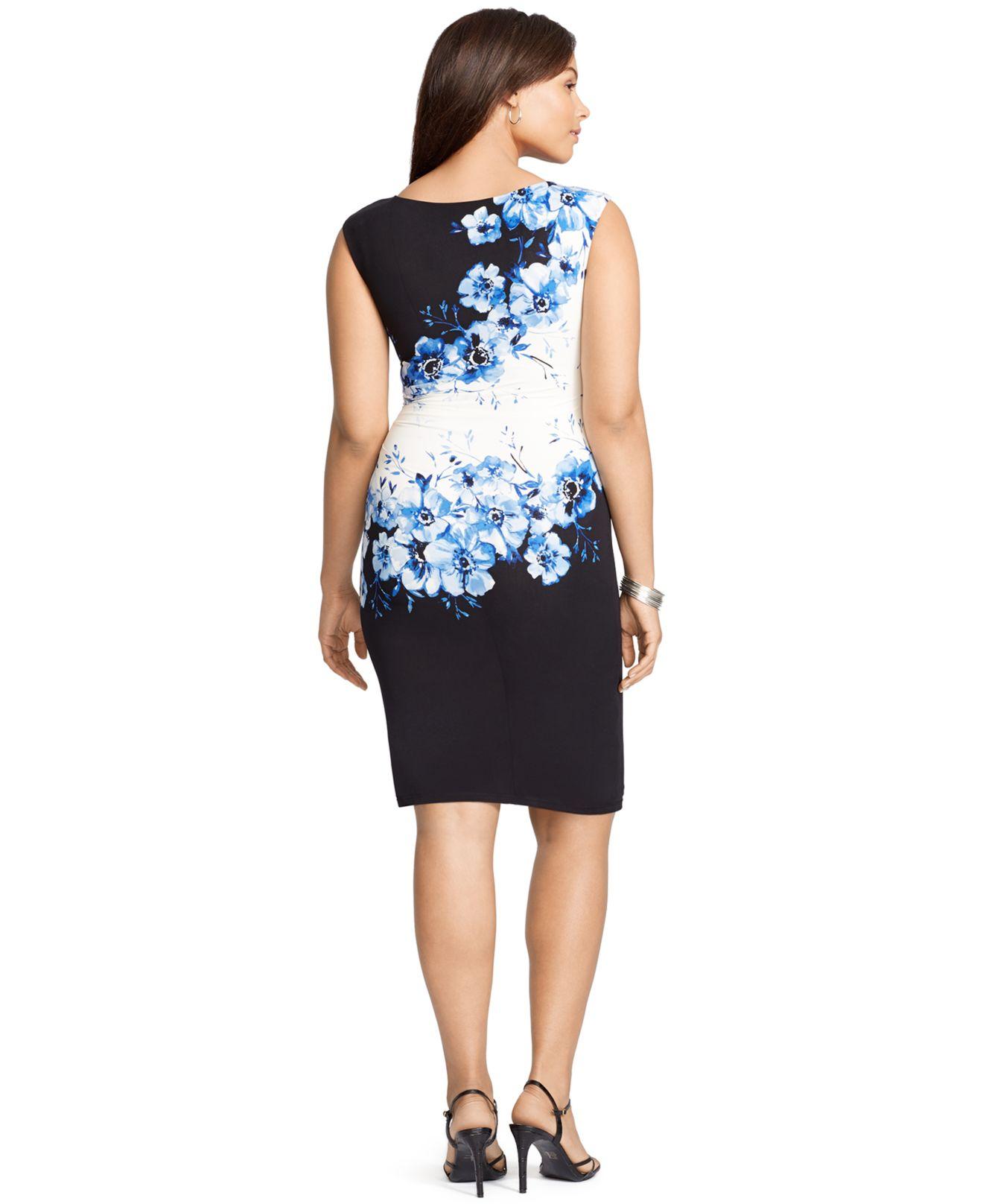 Lyst Lauren By Ralph Lauren Plus Size Floral Print Cap Sleeve