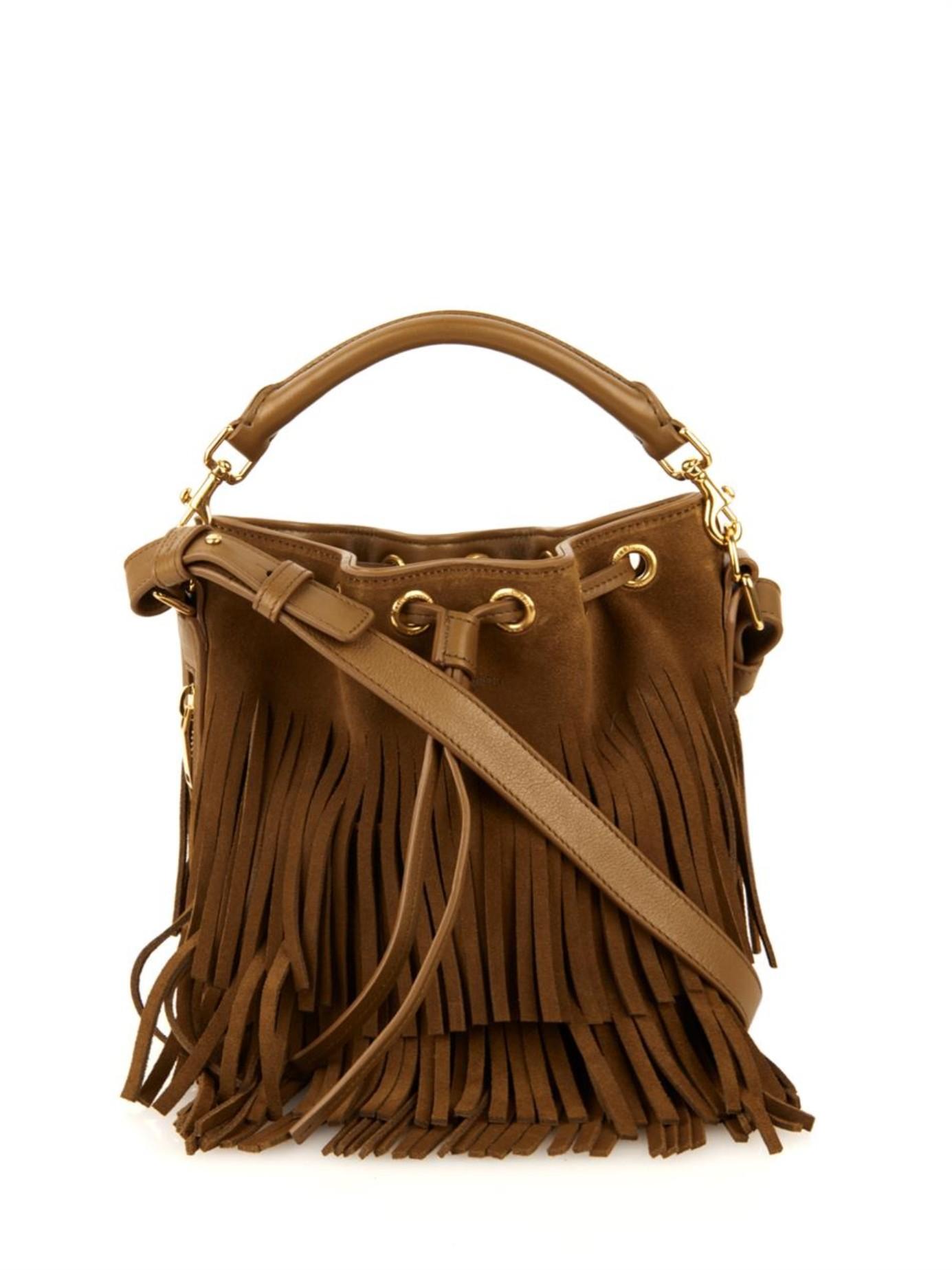 ysl luggage - emmanuelle small suede fringe hobo bag, tan