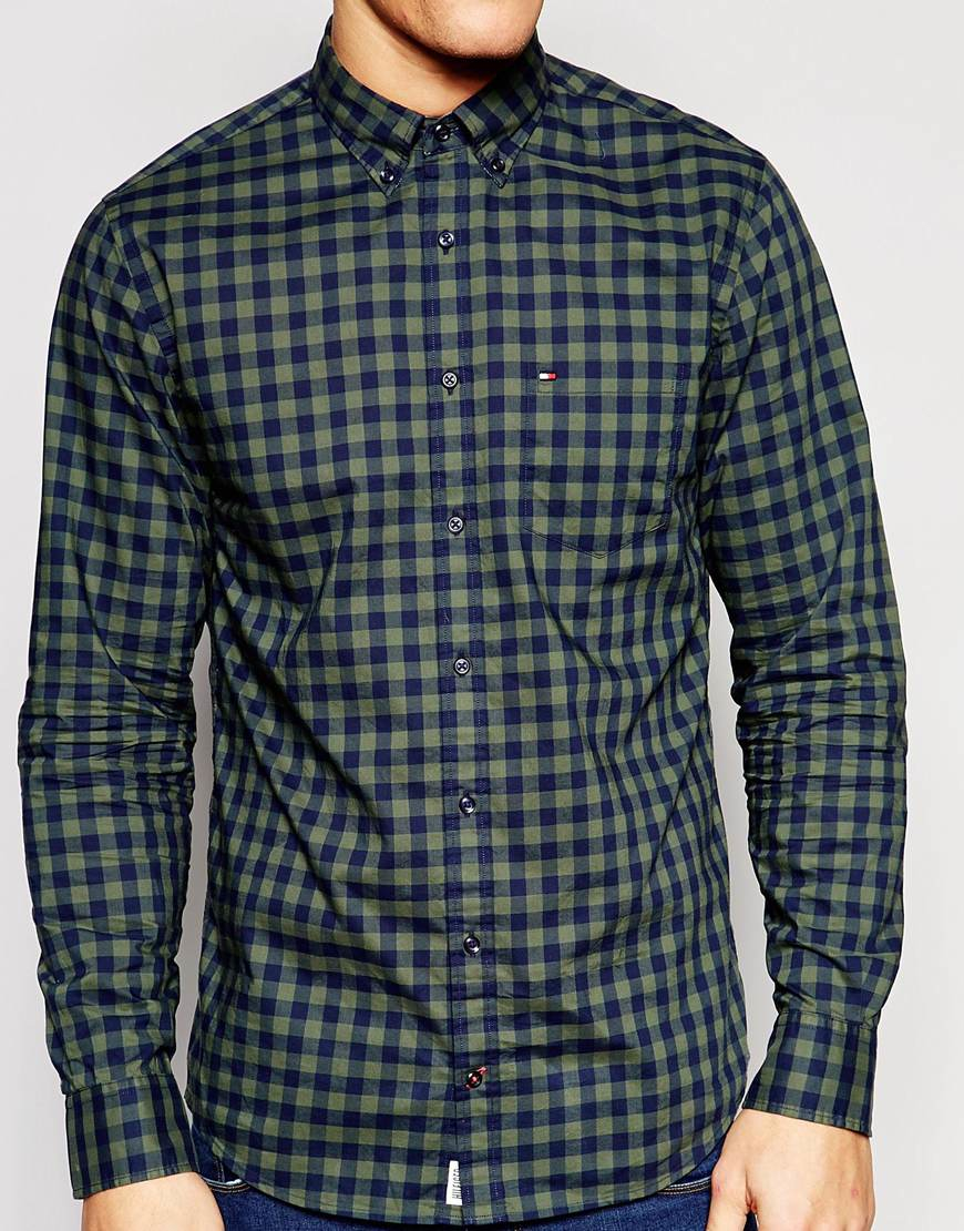 Tommy hilfiger large gingham check shirt with button down for Tommy hilfiger gingham dress shirt