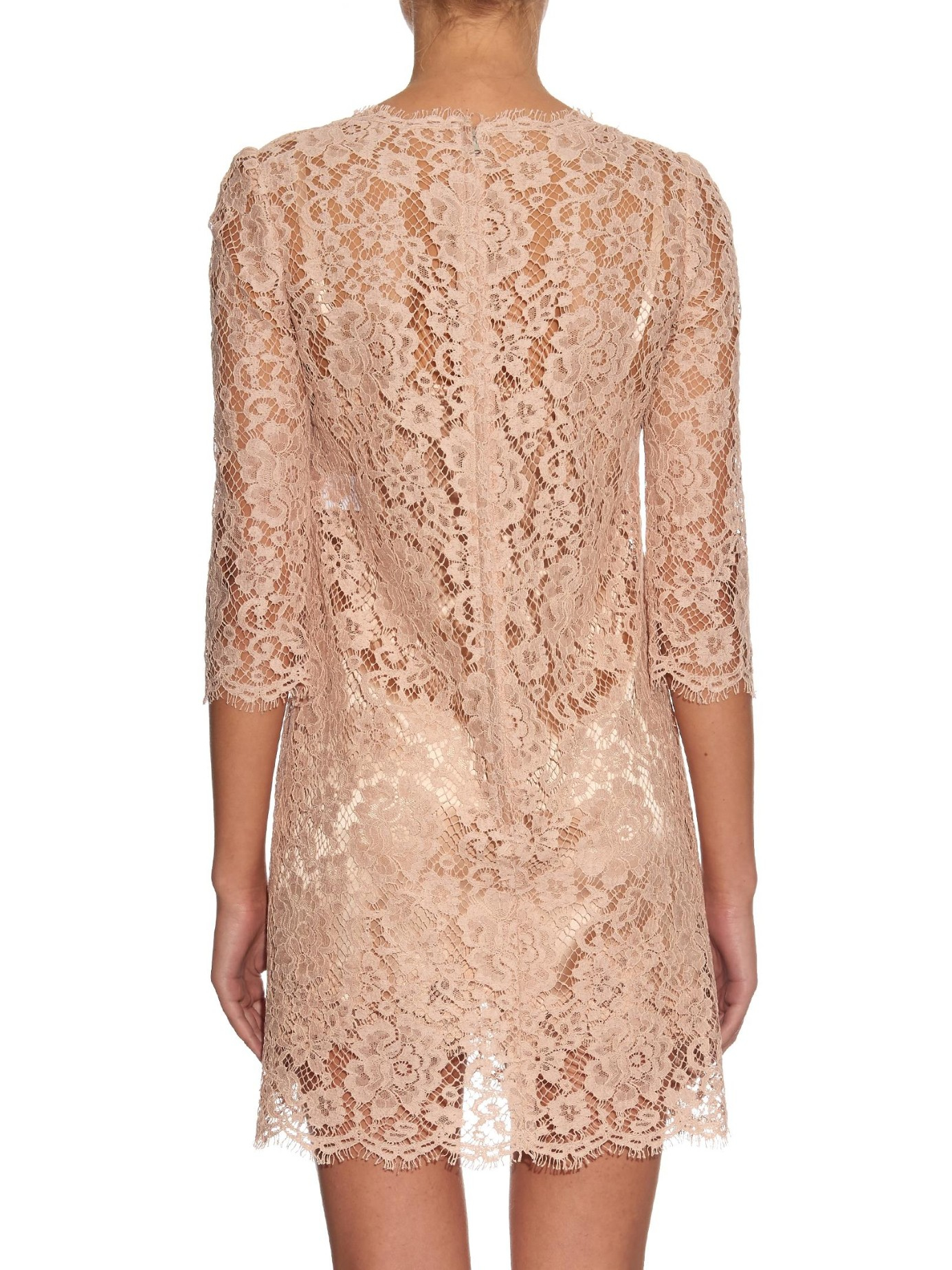 dolce amp gabbana long sleeved floral lace dress in pink lyst