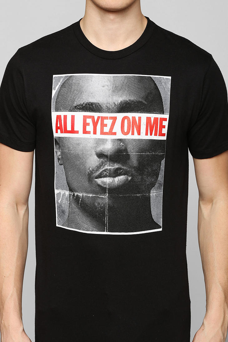 lyst urban outfitters all eyez on me tupac tee in black. Black Bedroom Furniture Sets. Home Design Ideas