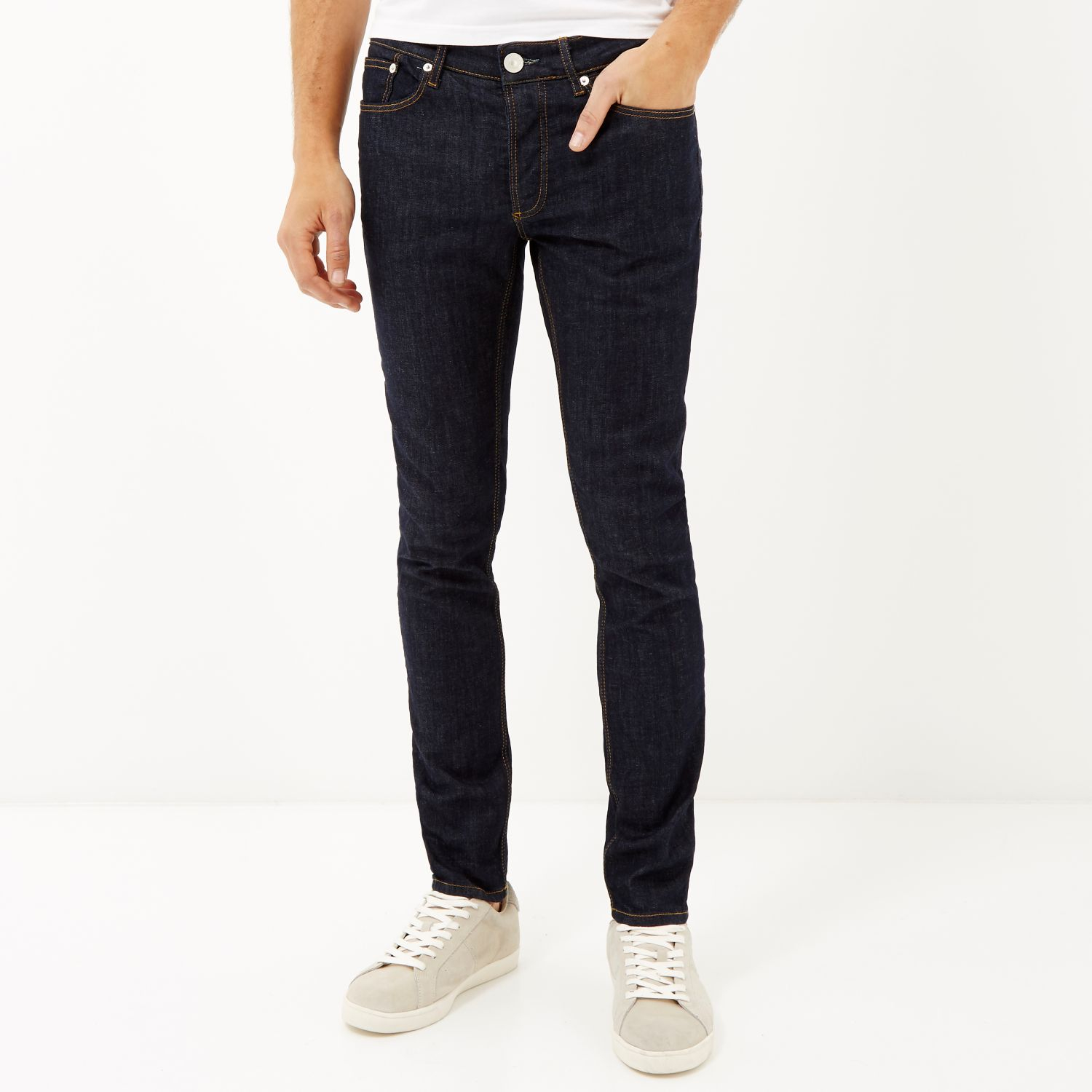 River island Dark Wash Sid Skinny Stretch Jeans in Blue for Men | Lyst