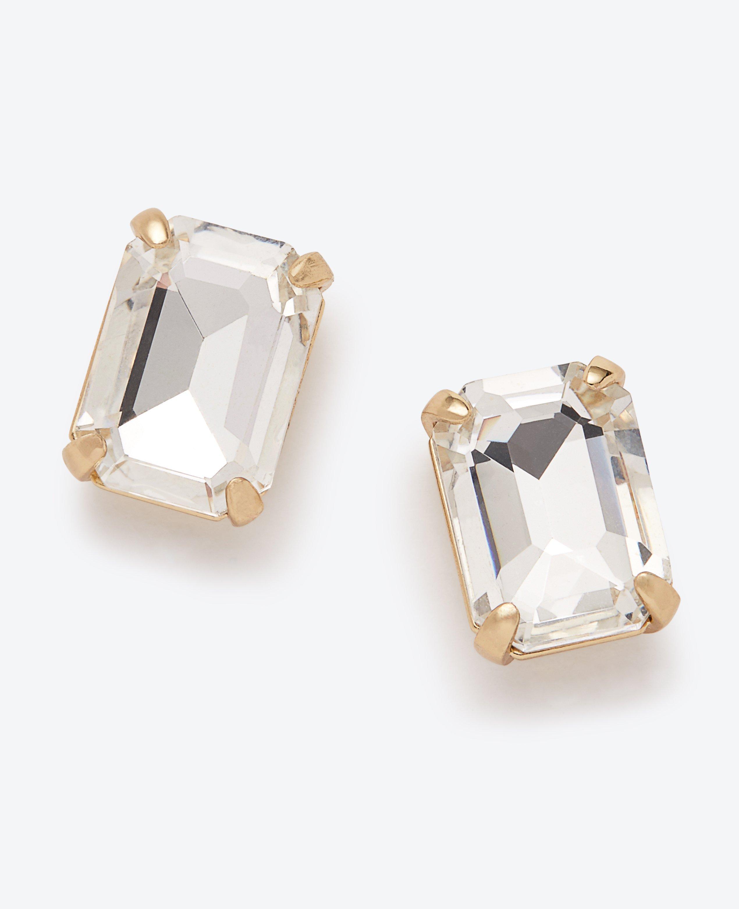 fc62ccd9a Ann Taylor Crystal Rectangle Stud Earrings in Metallic - Lyst
