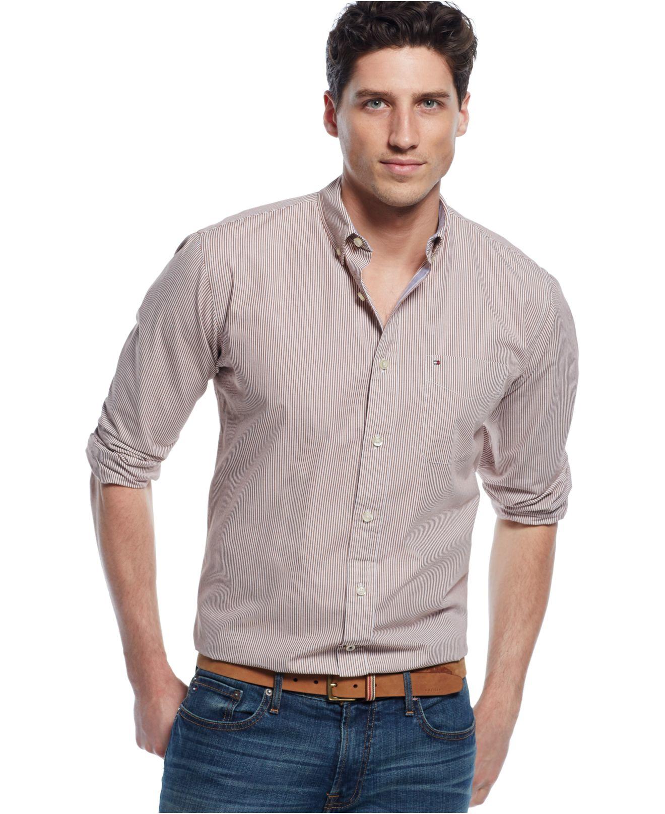 Tommy hilfiger fitzgerald striped shirt in brown for men for Tommy hilfiger fitzgerald striped shirt