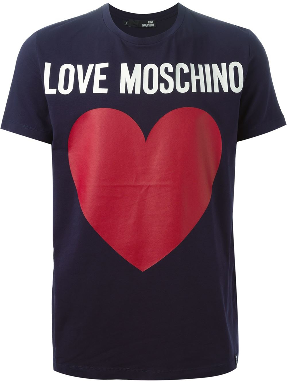 love moschino logo print t shirt in blue for men lyst. Black Bedroom Furniture Sets. Home Design Ideas