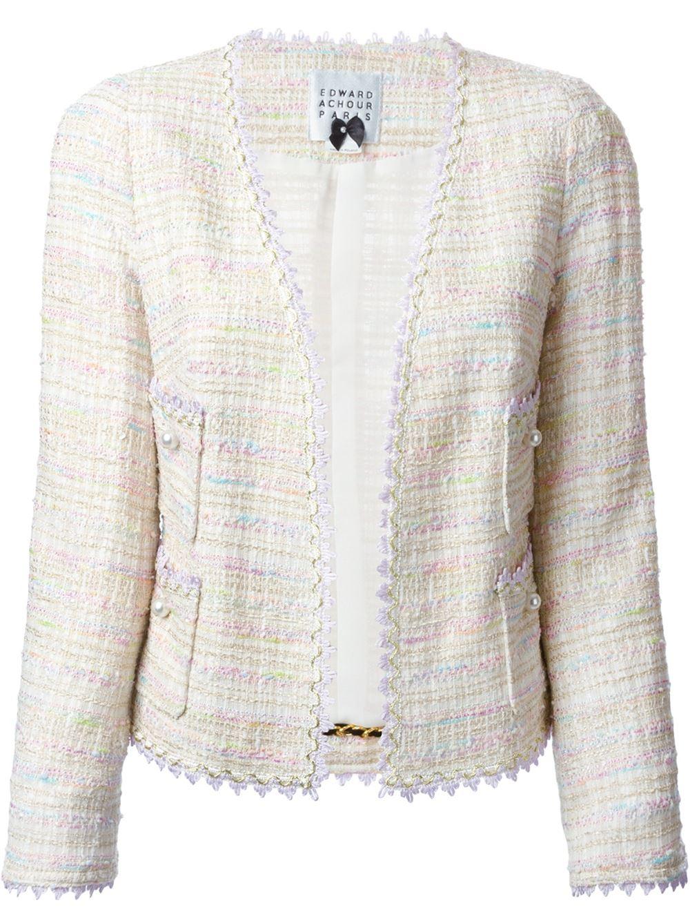 f7288cdf8a62a Lyst - Edward Achour Paris Embellished Tweed Jacket in Natural