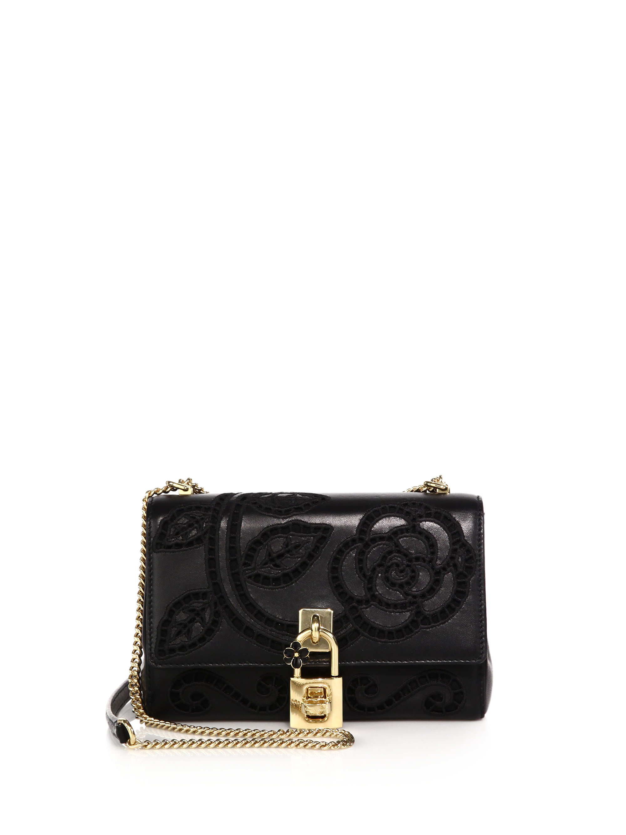 Lyst dolce gabbana rose embroidered leather crossbody