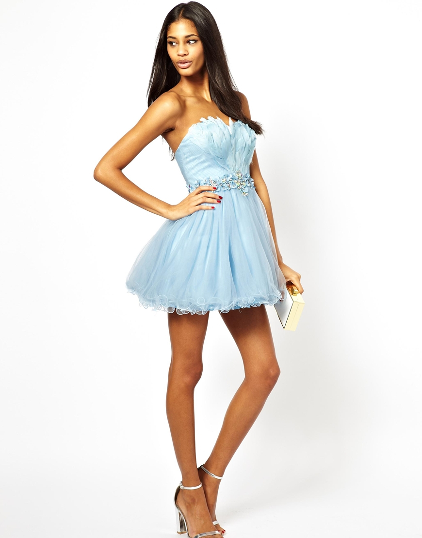 Lyst - Forever Unique Prom Dress with Feather Bodice in Blue