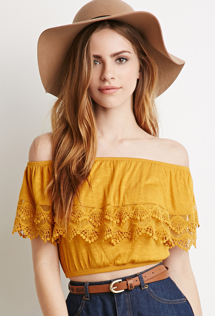 e008e58cca98ac Lyst - Forever 21 Crocheted Flounce Off-the-shoulder Top in Orange