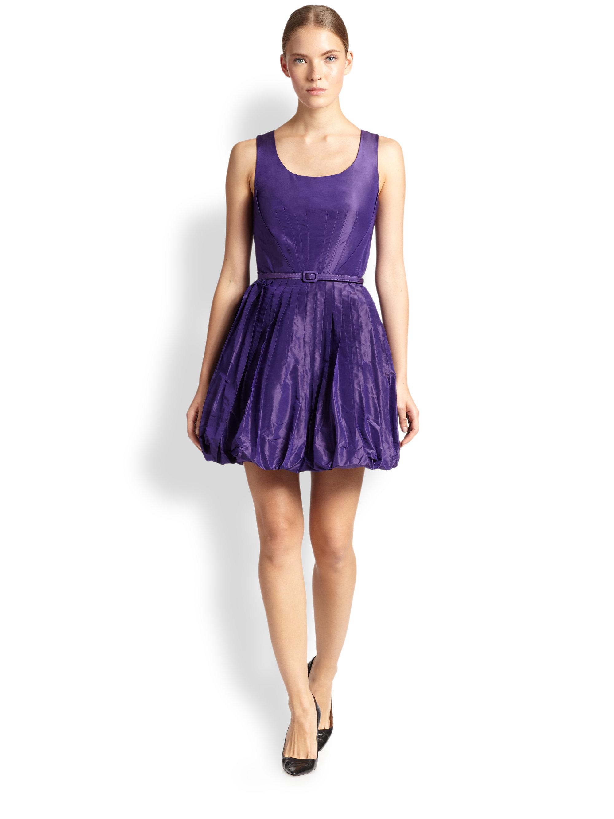 Lyst - Oscar De La Renta Silk Taffeta Bubble Dress in Purple