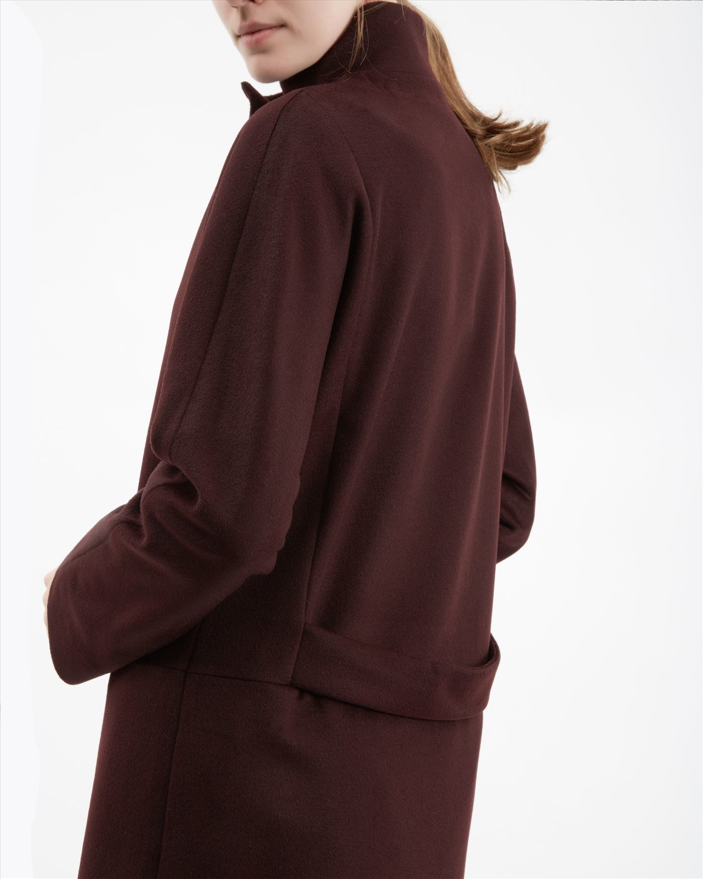 Jaeger Wool Funnel Neck Coat in Brown | Lyst