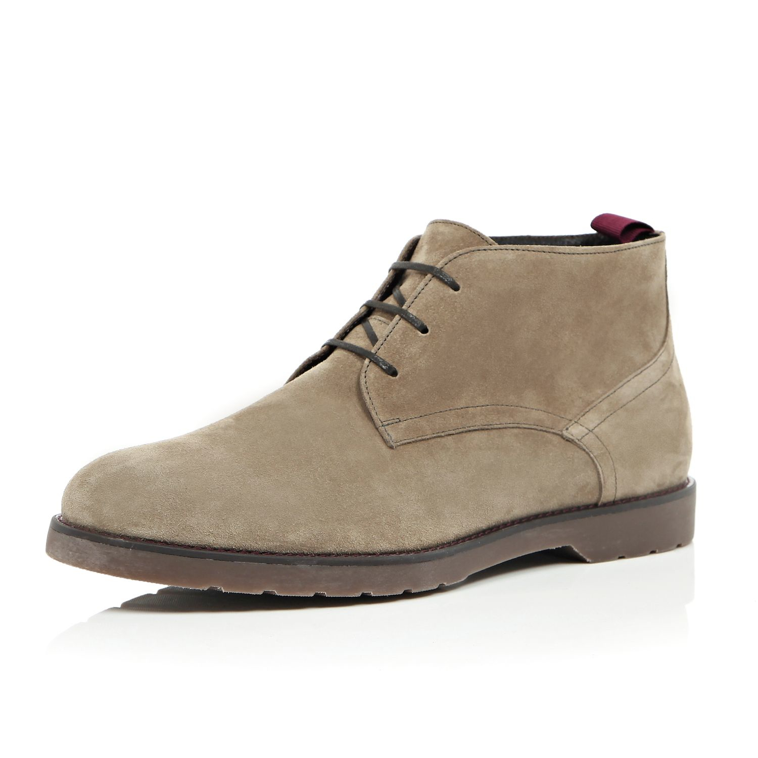 River Island Chukka Boots In Suede With Chunky Sole In Gray