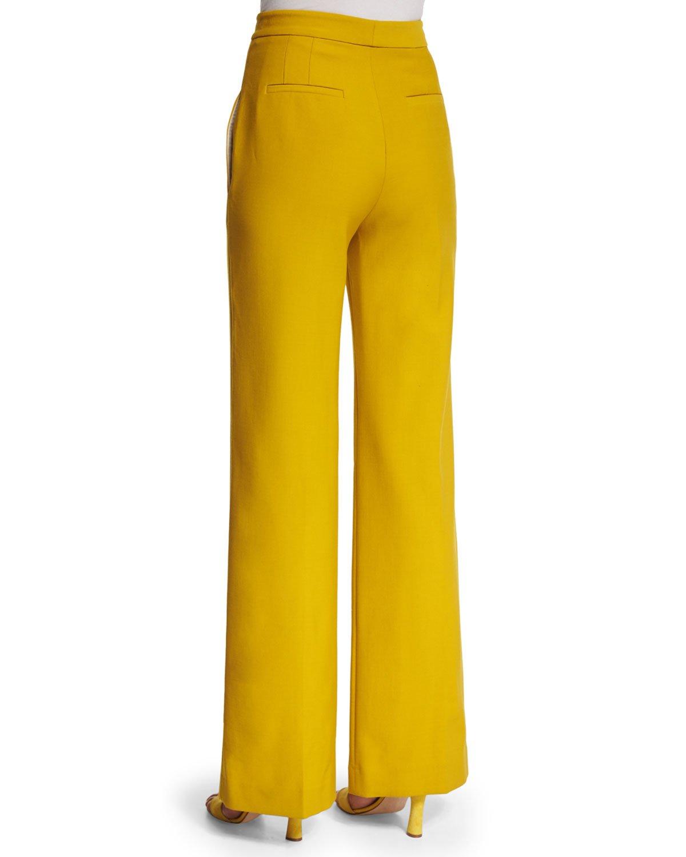 Adam lippes High-waist Wide-leg Pants in Yellow | Lyst