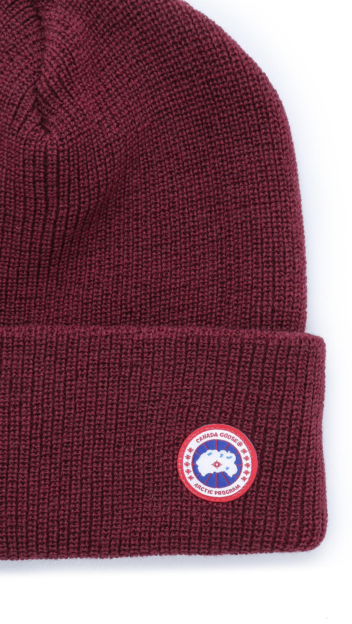 ac01ac6784f Canada Goose Merino Wool Watch Cap in Red for Men - Lyst
