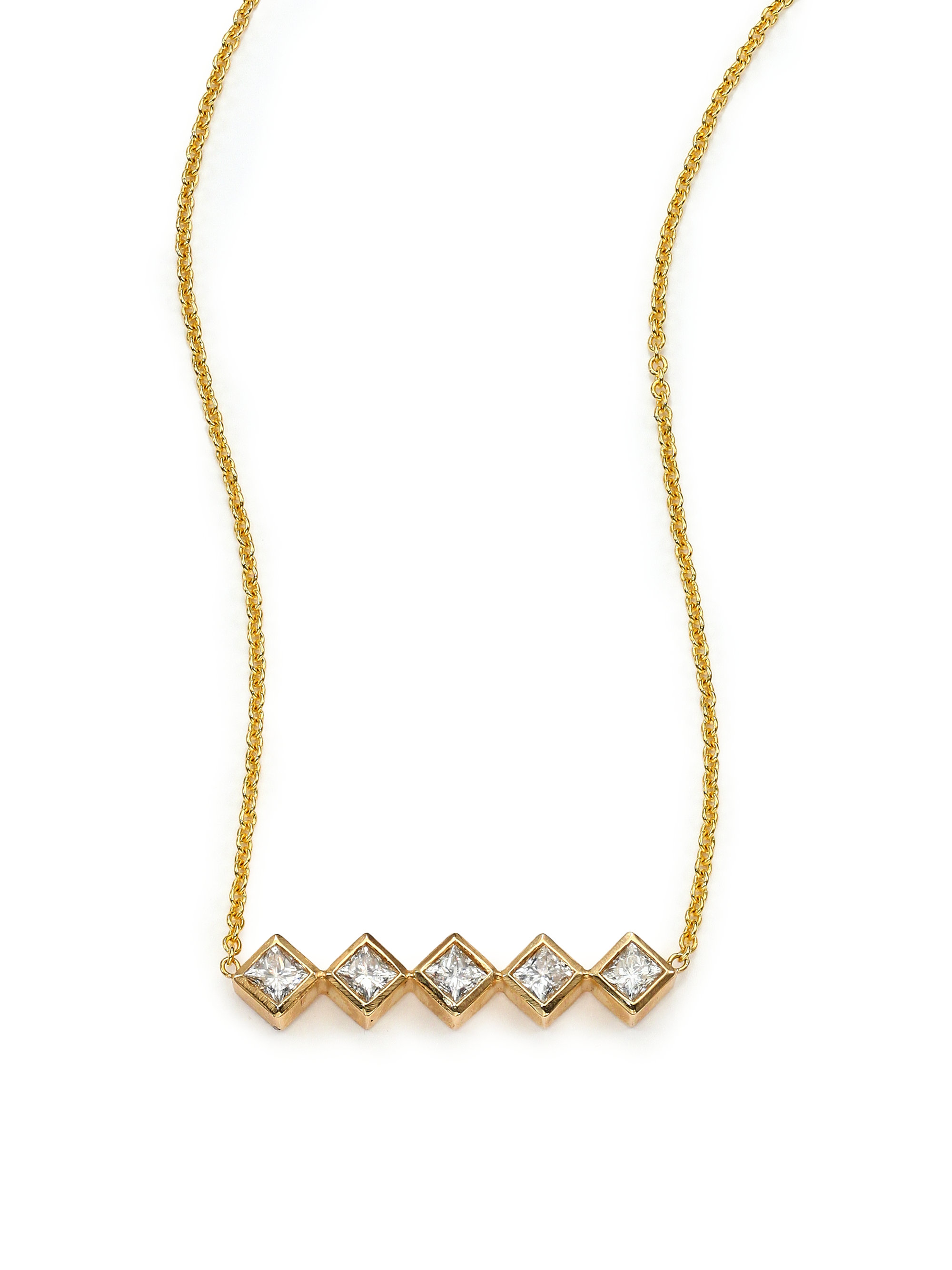 zoe chicco 14k yellow gold princess necklace in