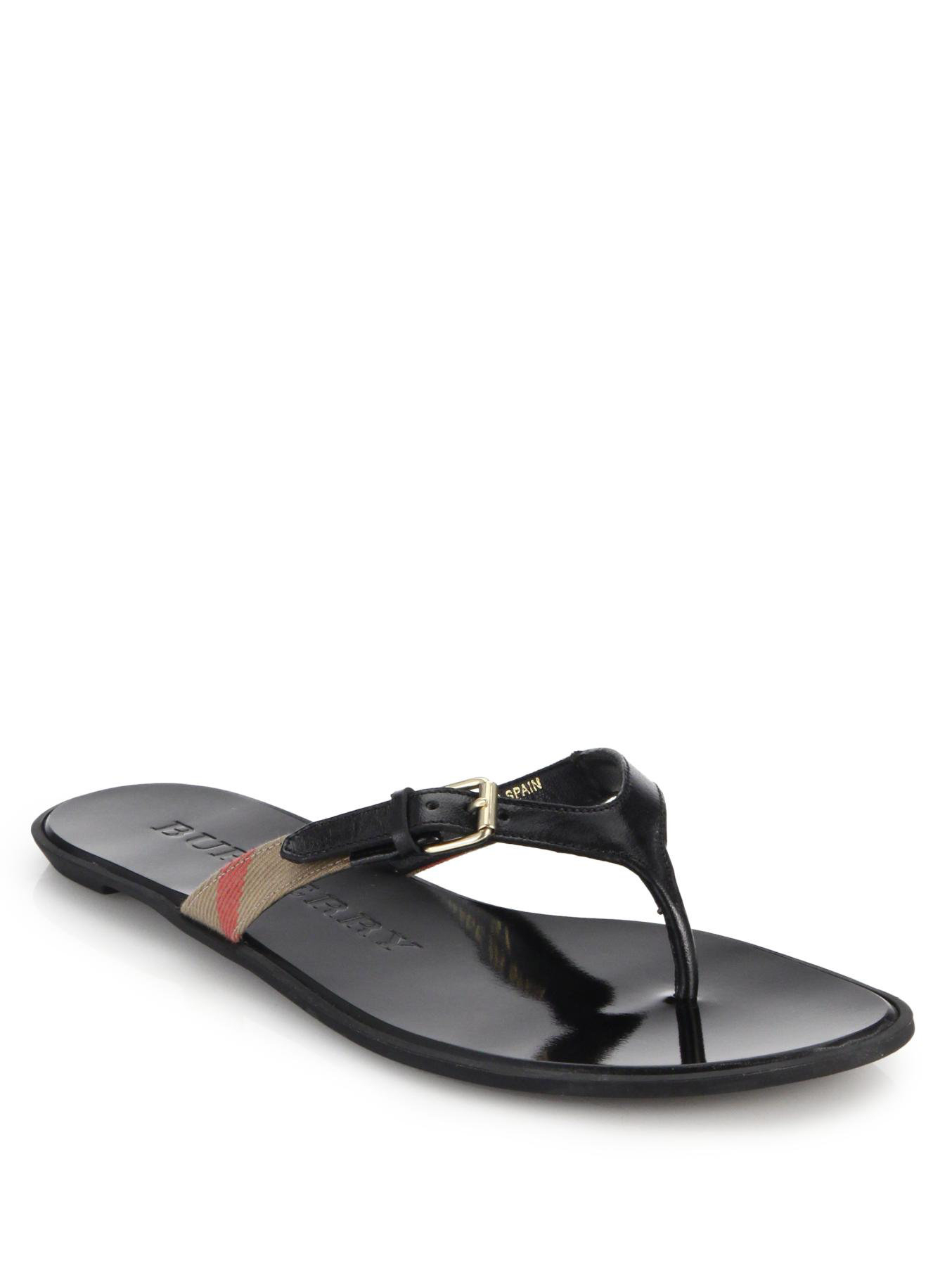 0067f48c4e09 Lyst - Burberry Maisie Leather   Check Thong Sandals in Black