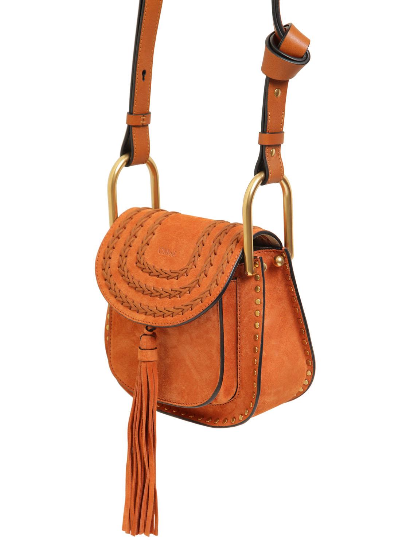 white chloe bag - Chlo�� Mini Hudson Studs Suede W/braids Bag in Orange (TANNISH RED ...