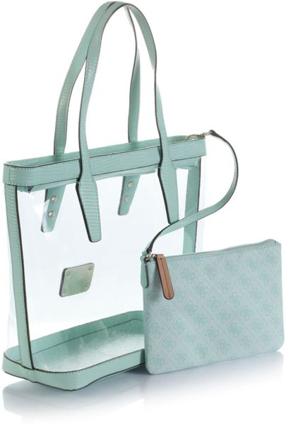 guess logo remix clear plastic tote bag in green mint
