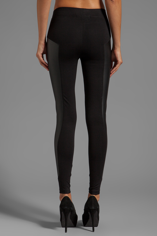 C&c california X Stephanie Ponte Legging with Leather Panel in ...