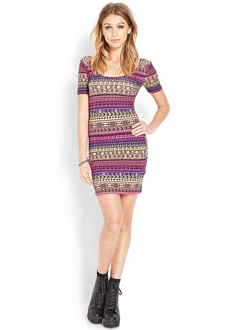 Forever 21 Tribal Print Ombre Dress in Purple | Lyst